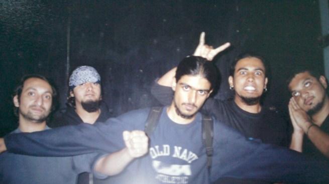 Pin Drop Violence's original lineup: (L-R) Vispy Homavazir, Niraj Trivedi, Pradeep Miranda, Mithun Poojari, Rohit Pereira